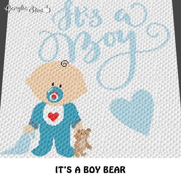 Its A Boy Baby And Teddy Bear Crochet Blanket Pattern C2c Cross
