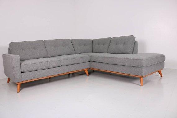 Mid Century Danish Modern Sectional Chaise Sofa Mid Century