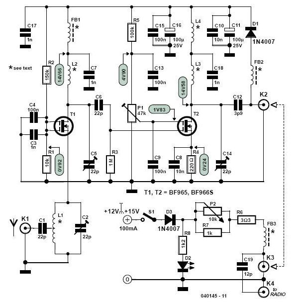vhf fm antenna booster circuit
