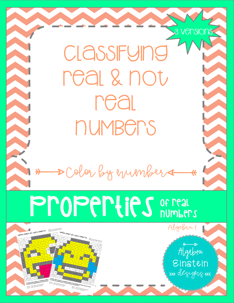 Real Numbers Classifying Color by Number (3 versions