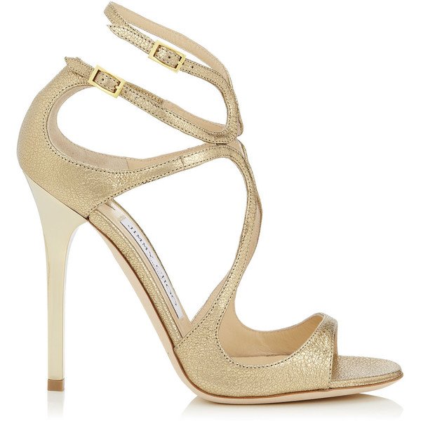 Jimmy Choo Lance Gold Glitter Leather Strappy Sandals found on Polyvore