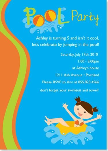 Teen Girl Pool Birthday Party Idea  Birthday Party Invitations
