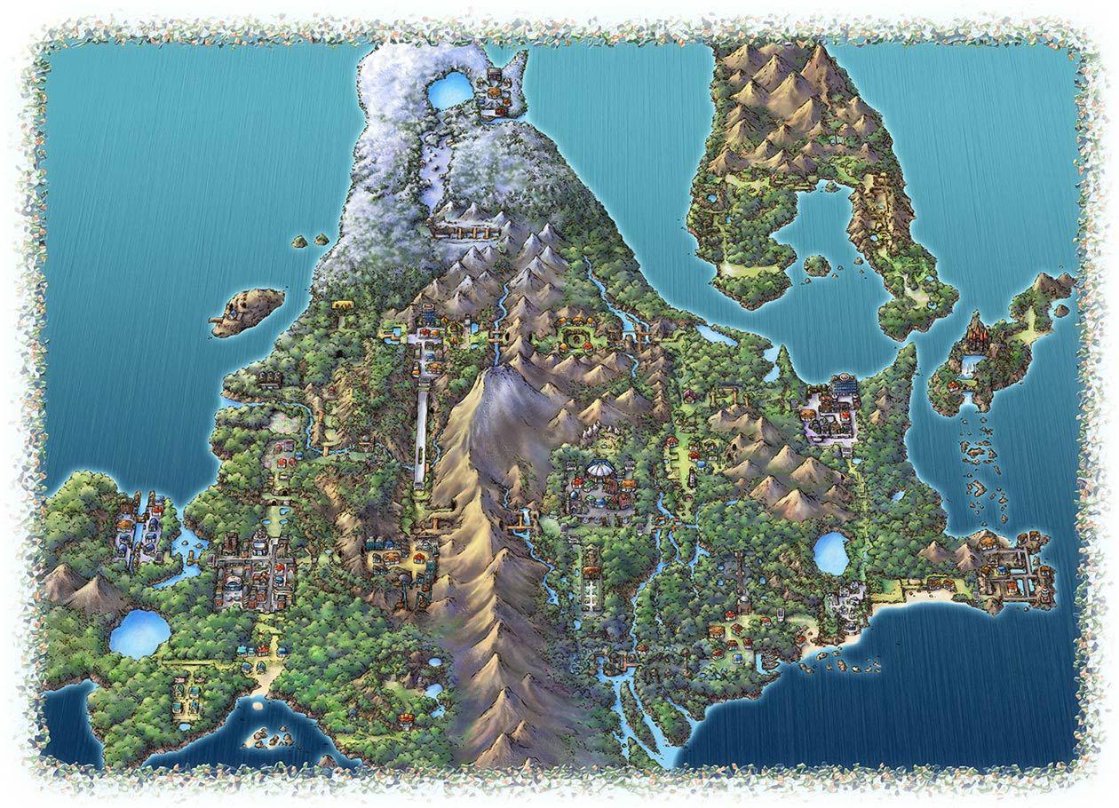 Sinnoh Region Map (avec images)   Carte