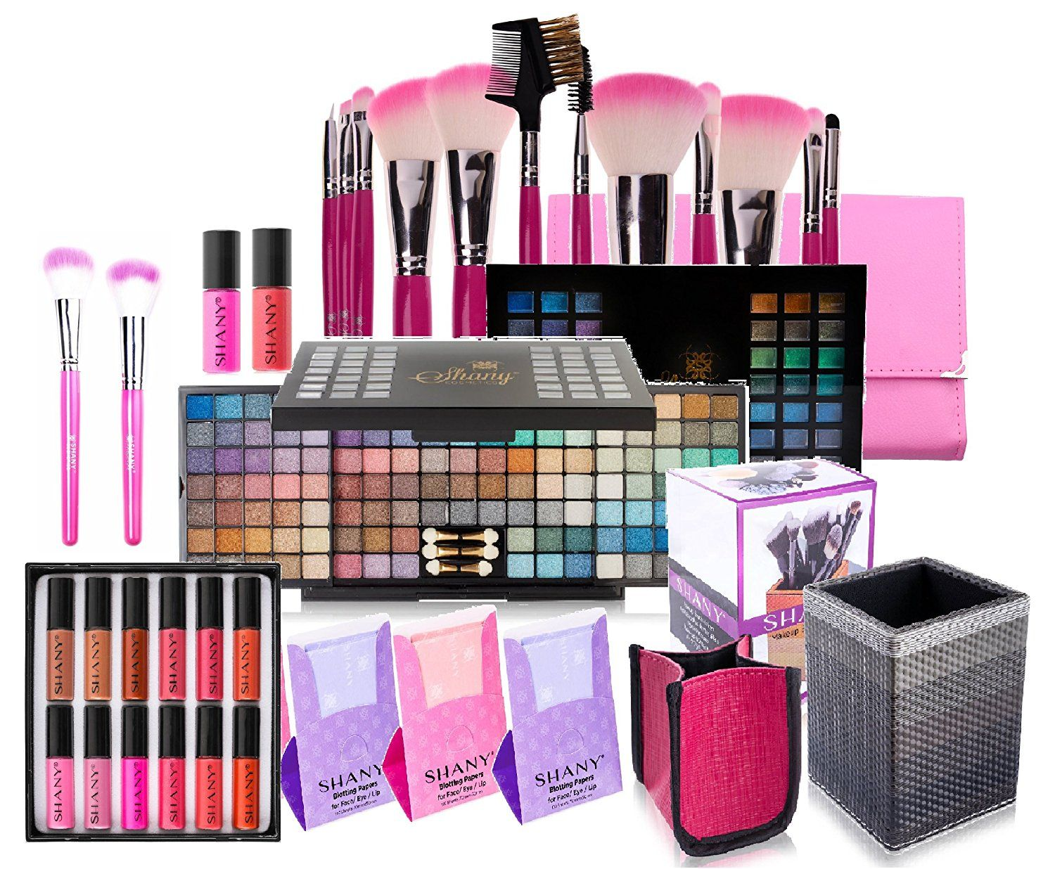 SHANY Holiday Exclusive All in One Makeup Set - Includes 12PC Makeup Brush Set, Eyeshadow Palette Makeup Set, 12PC Lipgloss Set, Cosmetics Brush Holder and Skin Care - Limited Quantities - COLORS VARY *** Find out more about the great product at the image link. (Note:Amazon affiliate link)