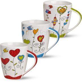 Tassen Becher Kaffeebecher Herzen Blumen bunt Porzellan 3er Set 10 cm / 300ml