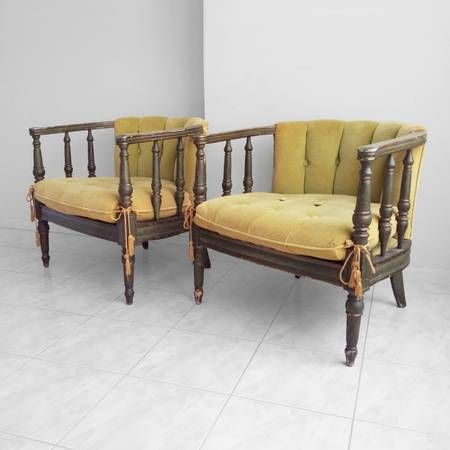Statesville Chair Co. ANTIQUE Spindle Barrel Back Parlor Chairs