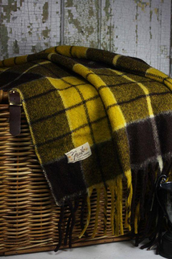 Vintage Wool Plaid Blanket Faribault Woolen Mill Co
