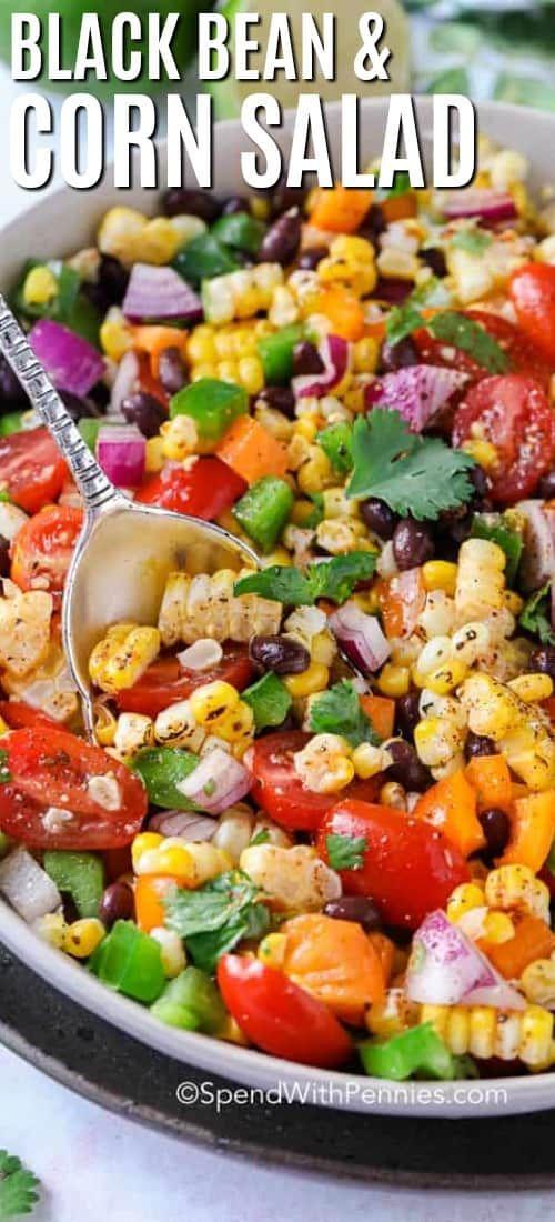 Black Bean Corn Salad ist ein einfaches, gesundes Sommerrezept mit frischem Gemüse wie …