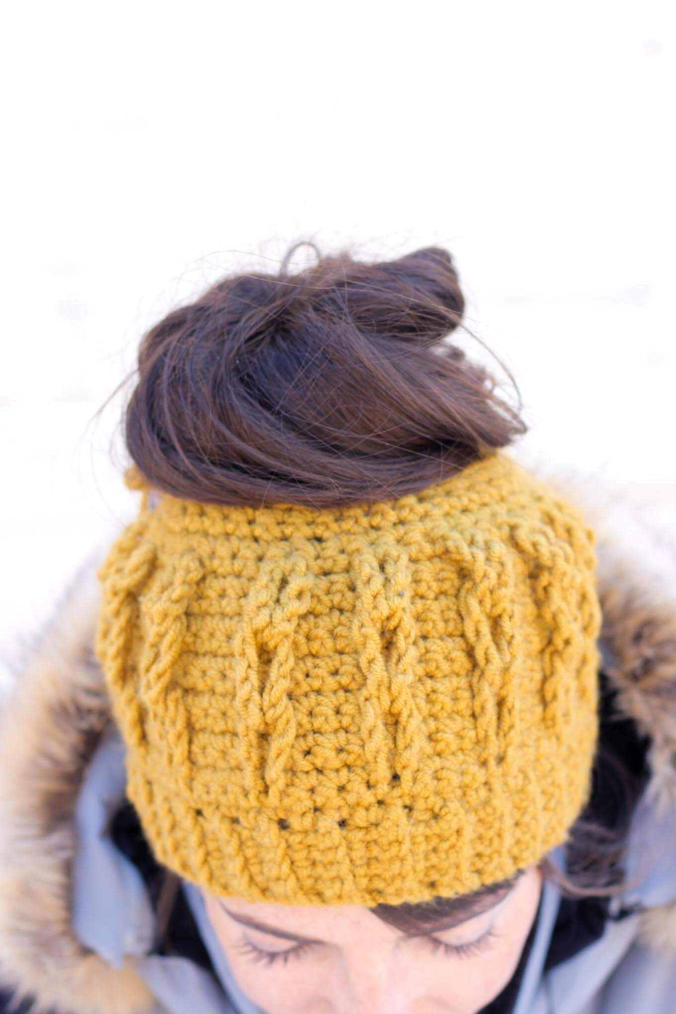 Crochet Bun Beanie with Faux Cables - Free Pattern and Video ...