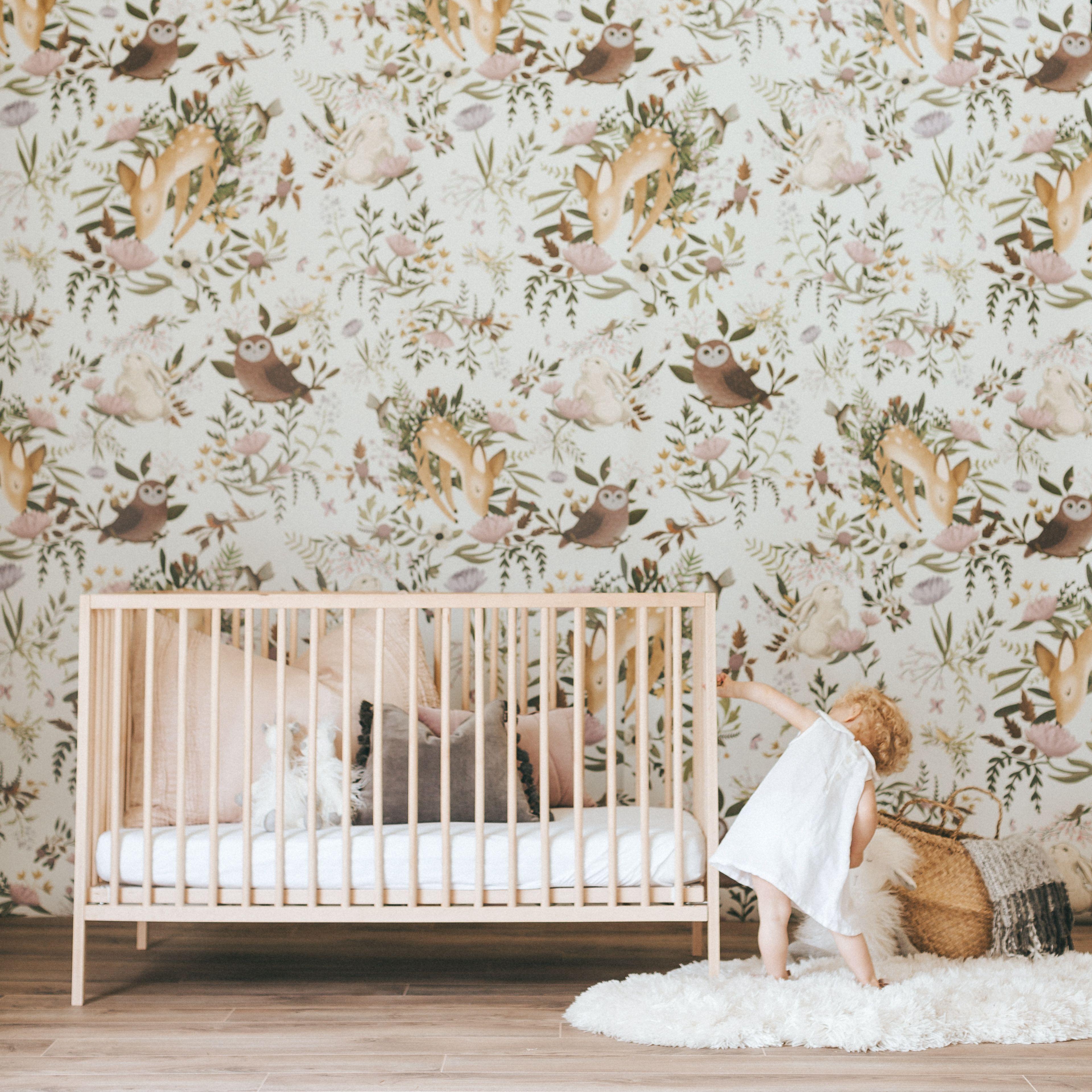 Anewall OH Deer Wallpaper Mural, Light Nursery wallpaper