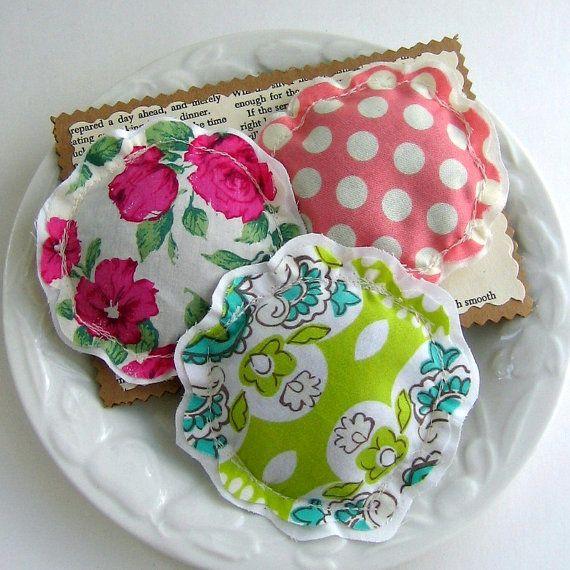 lavender sachets, lavender sachet trio set, little pillow sachets, flower sachets,  French lavender sachets, fabric scrap sachets- No. 107
