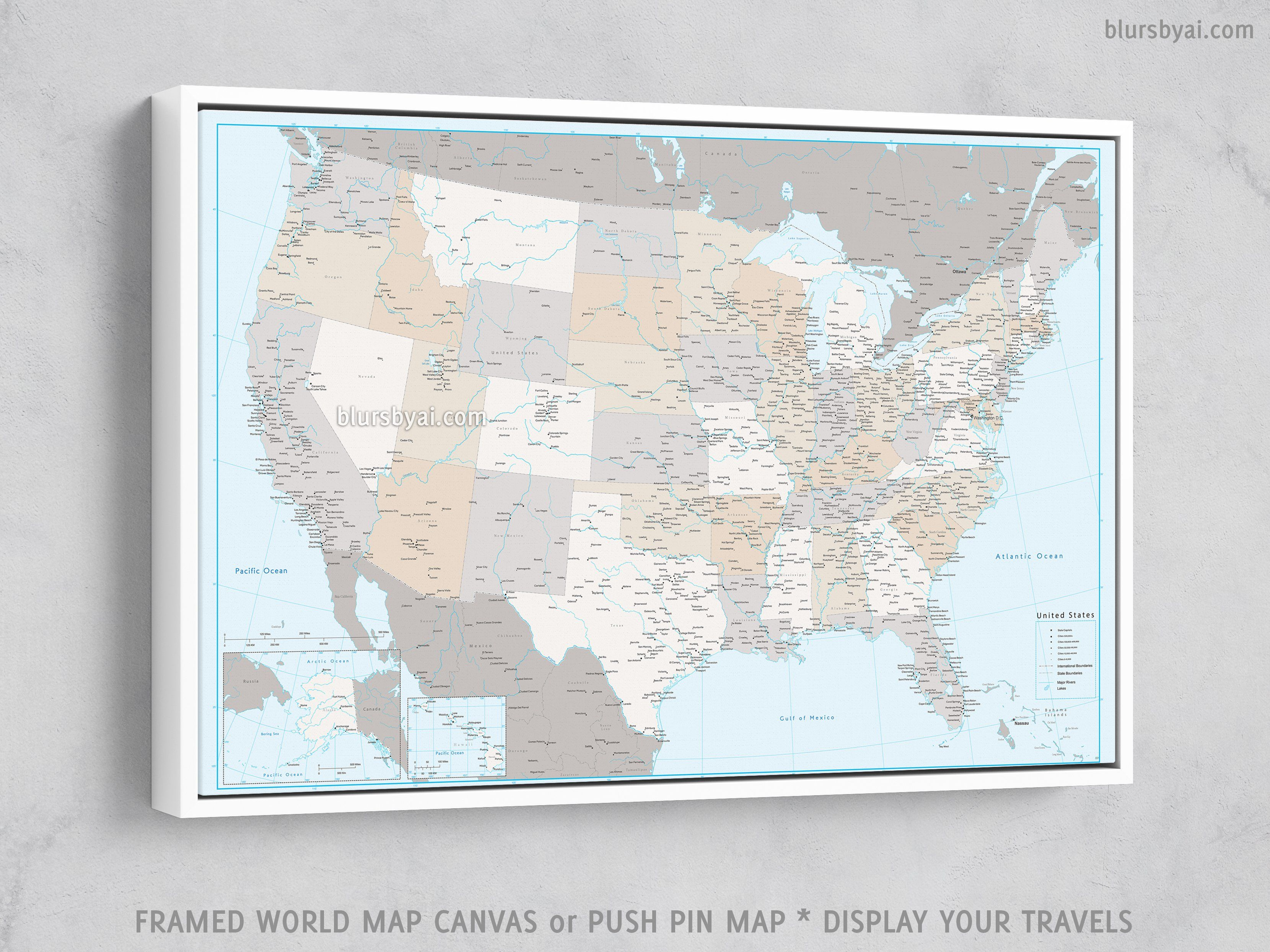 Personalized Usa Map.Personalized Usa Map With Cities Canvas Print Or Push Pin Map In