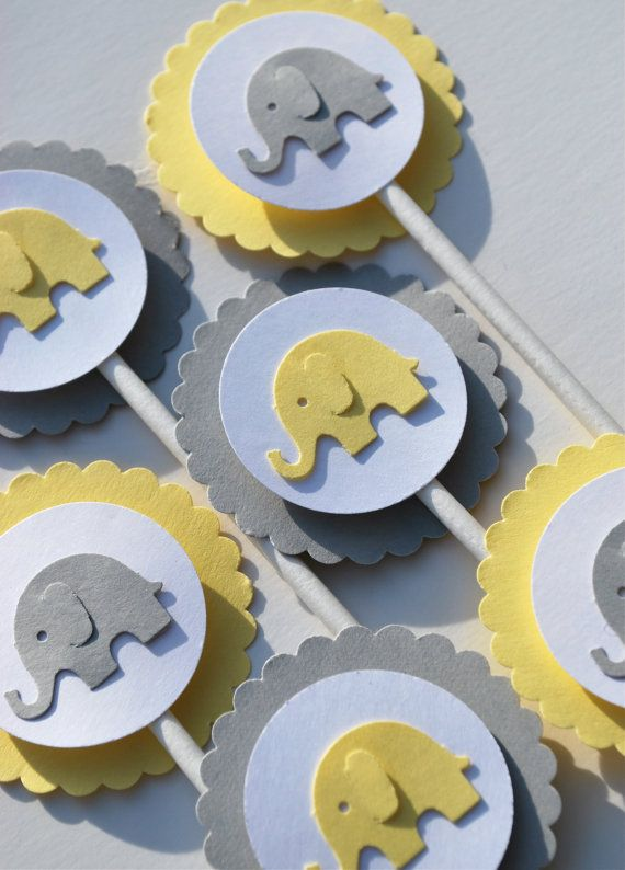 Baby Shower Cupcakes Elephant ~ Yellow and gray elephant cupcake toppers by