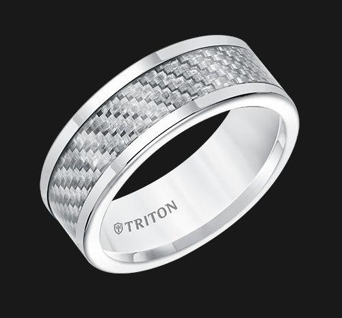 Triton Jewelry - White Tungsten Carbide with Carbon Fiber Insert