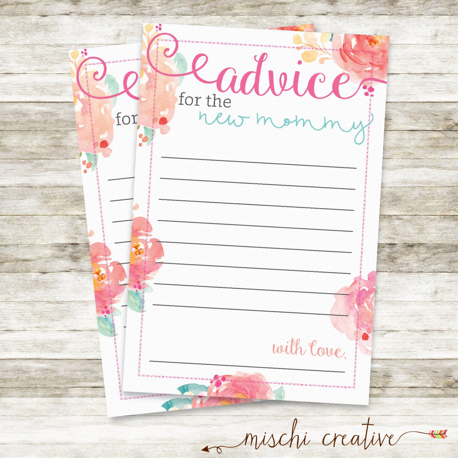Floral Baby Shower Advice Cards Watercolor Flowers New Mom