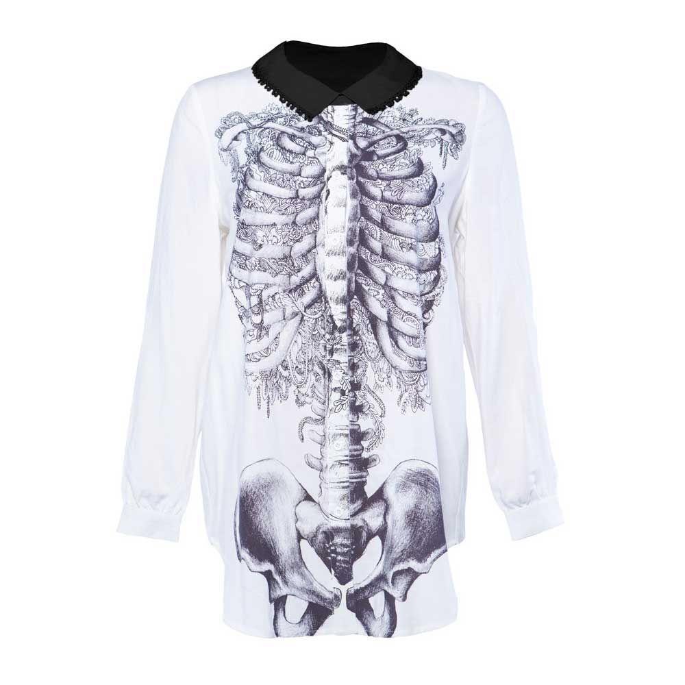 Creepers korte jurk met ribbenkast skelet print en lange mouwen wit/zwart