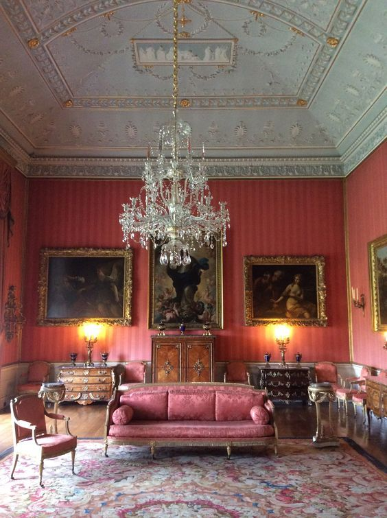 English Adam Ceiling with exquisite mouldings, French Aubusson Carpet & Marquetry Commodes