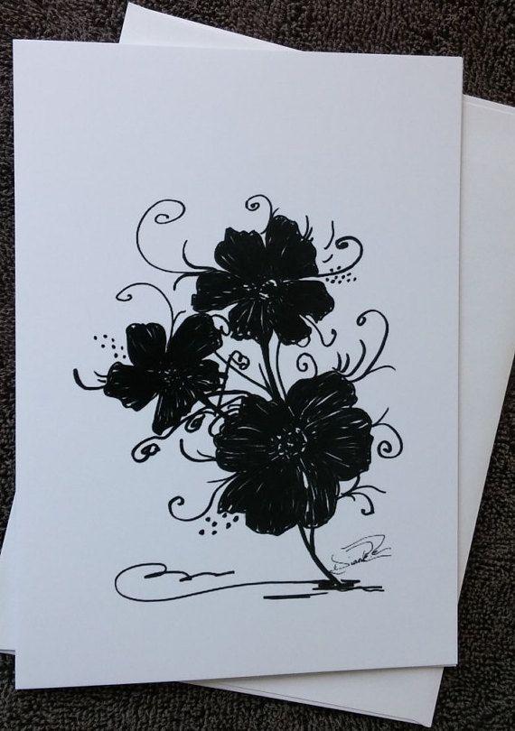 Dessin De Petites Fleurs En Noir Et Blanc Frisson Carte 5 X 7