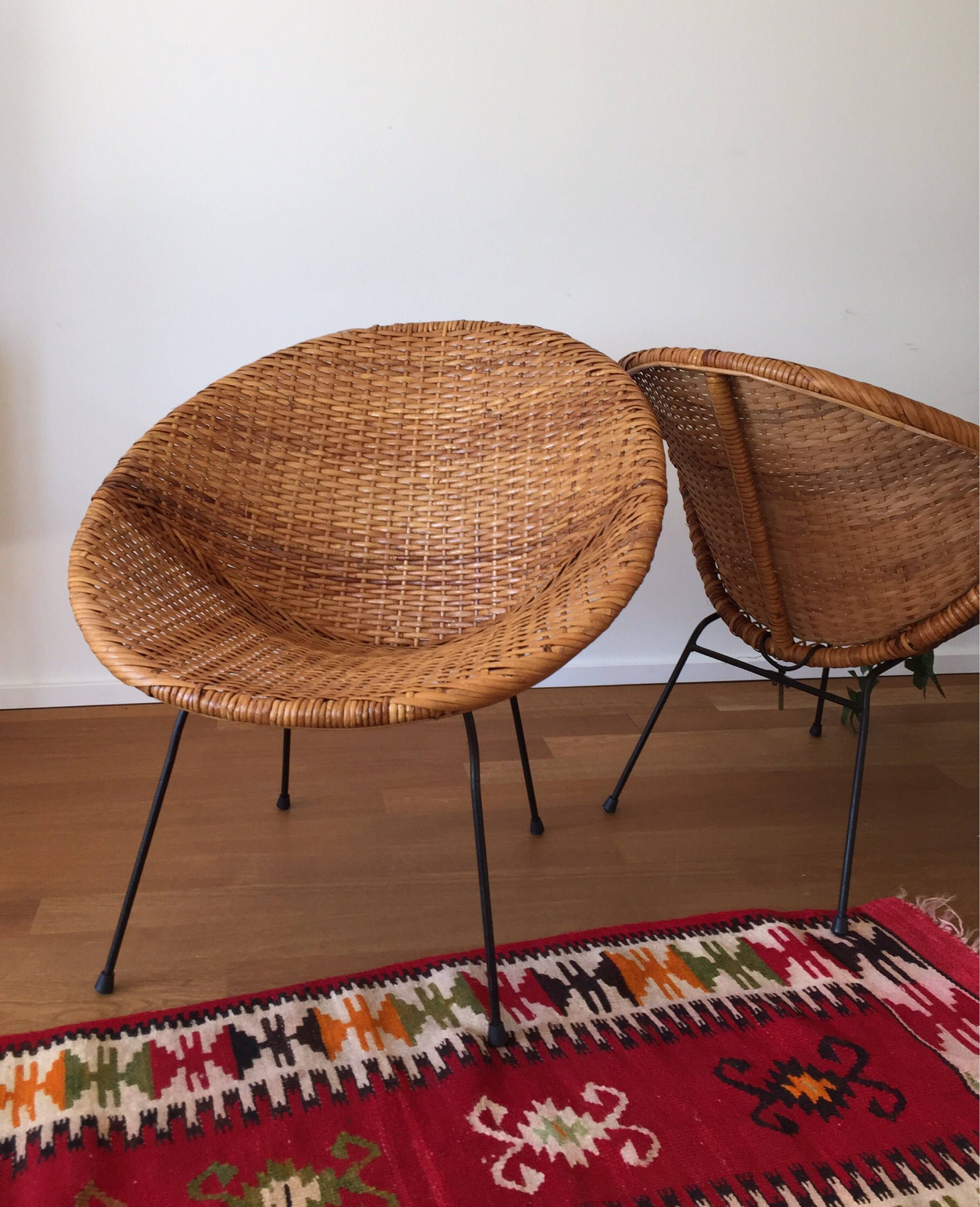 Mid Century 60er Jahre Rattan Sessel Hoop Chair Wicked Chair (Calif Asia?)  Von