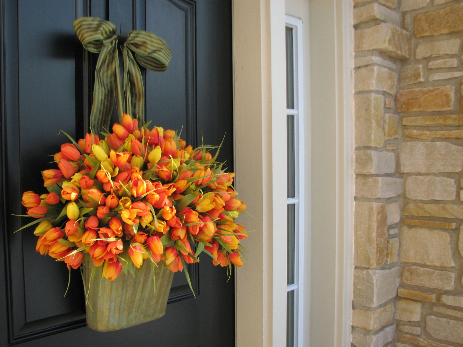 Easter Baskets Spring Tulips - Farmhouse Tulips - XXL Front Door ...