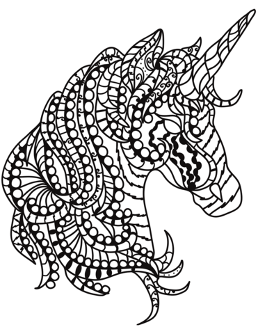 Unicorn Head Zentangle Coloring Page Horse Coloring Pages Coloring Pages Horse Coloring