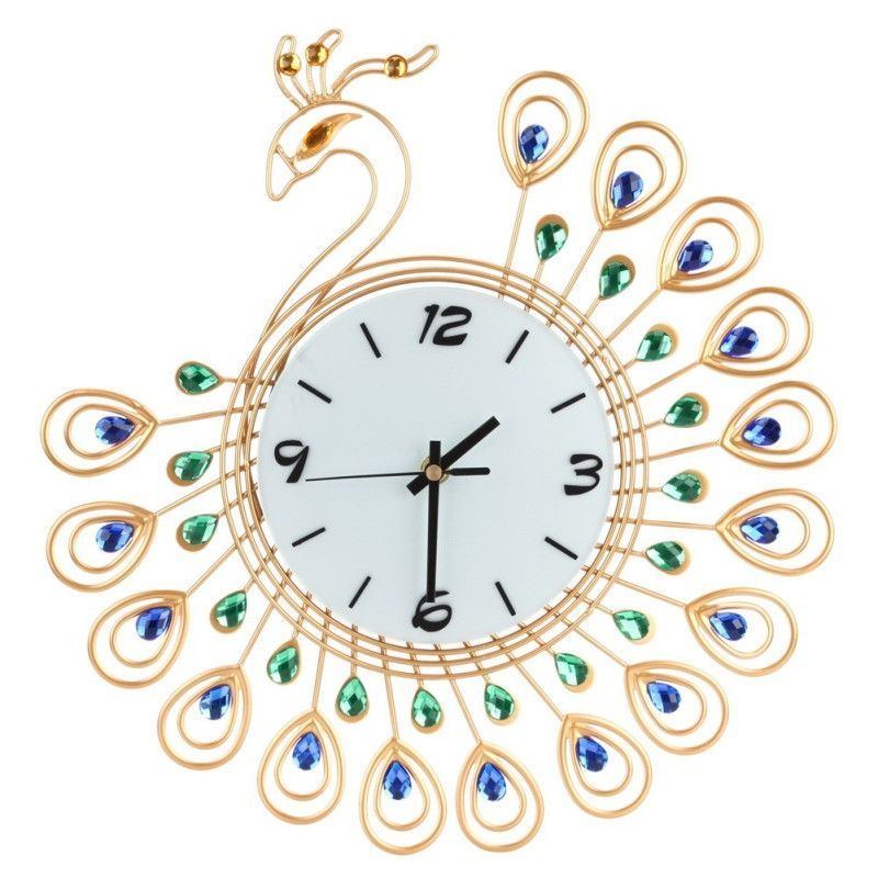 Vintage Luxury Wall Clock Diamond Metal Large Clock Home Living Room Decoration