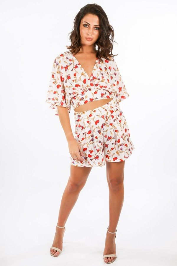 Floral Print Chiffon Shorts In White