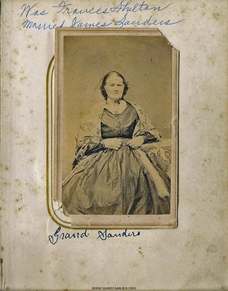 Frances was the mother of Martha Sanders Ware.  She was married to James Sanders of NC. (Photo provided by Billie Shulhafer.)
