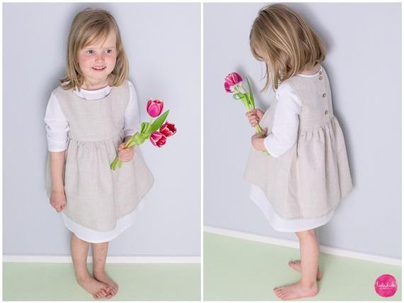 Leinen Kleid Mädchen Kleid Blumenmädchen Hochzeit ...