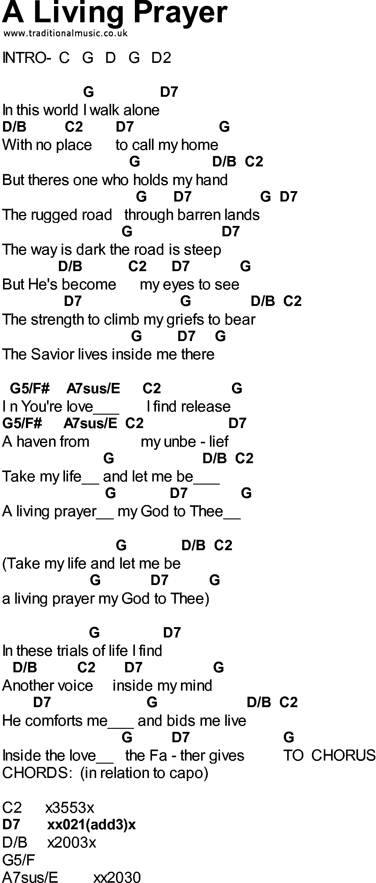 Bluegrass songs with chords   A Living Prayer   Lyrics and chords ...