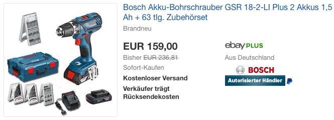 Bosch Akku-Bohrschrauber GSR 18-2-LI Plus, 2 Akkus, 63 tlg - bosch küchenmaschine profi 67