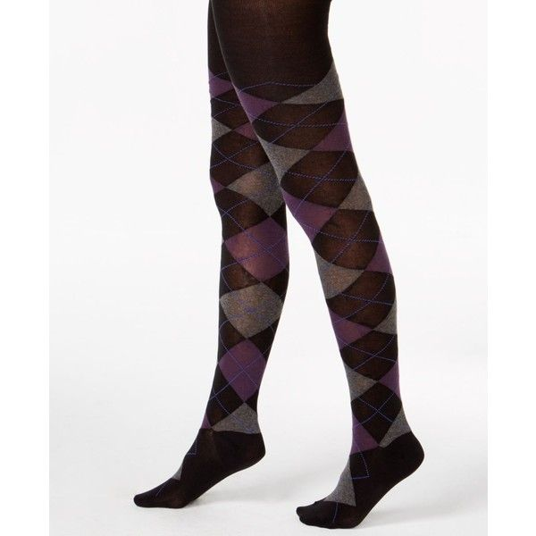 0f744390aae5e Hue Argyle Sweater Tights ($20) ❤ liked on Polyvore featuring intimates,  hosiery, tights, black, hue tights, argyle stockings, hue stockings, ...