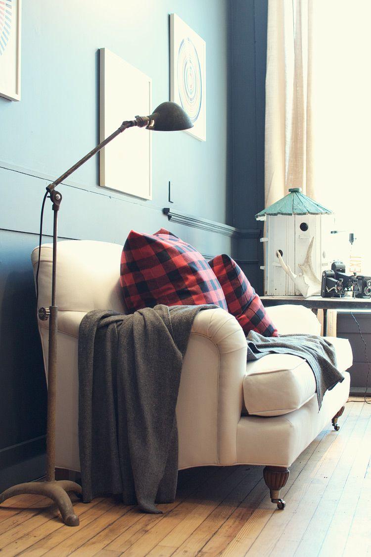 Basil English Roll Arm Sofa And Red Plaid Pillows English Roll