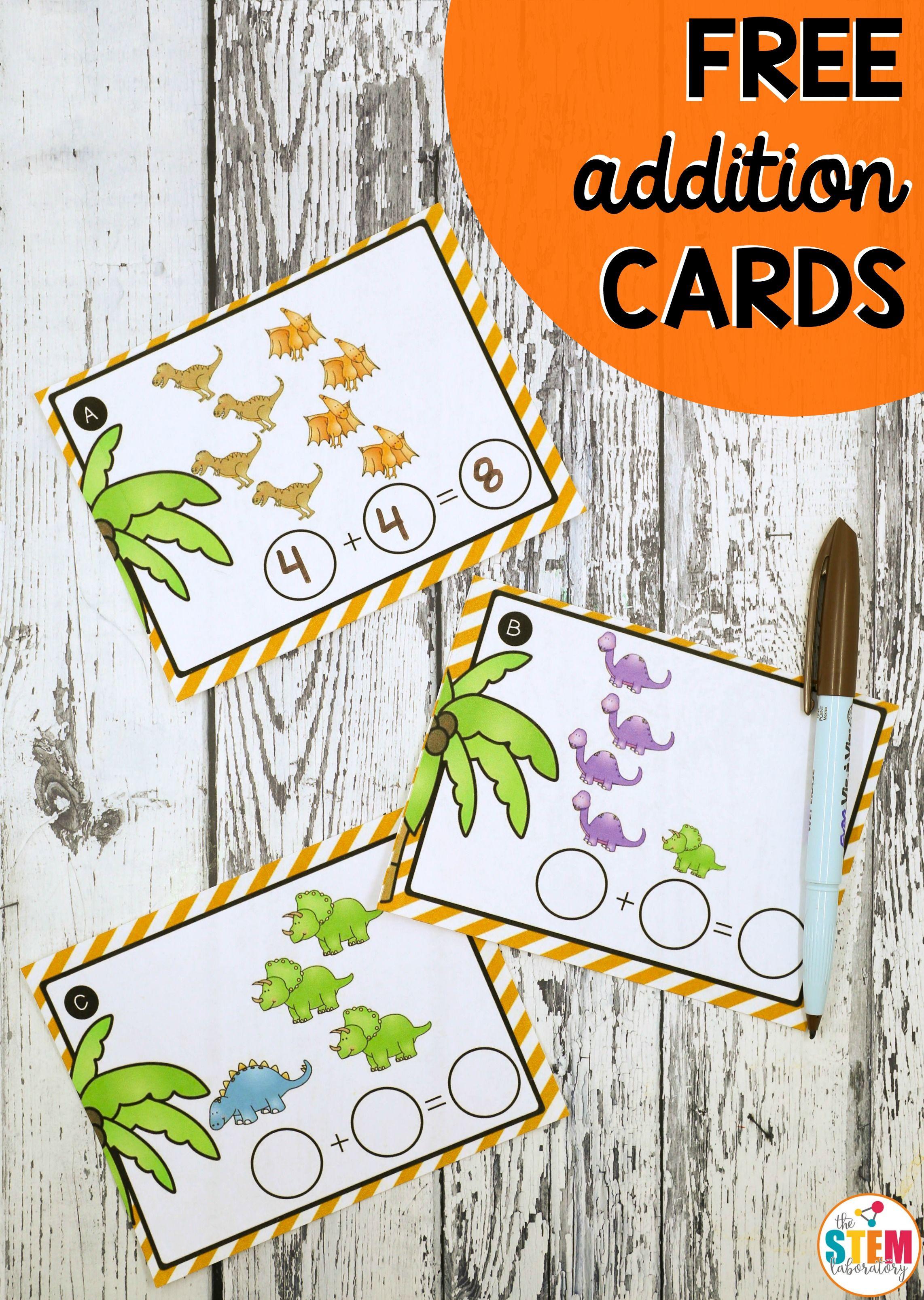 Dinosaur Addition Cards