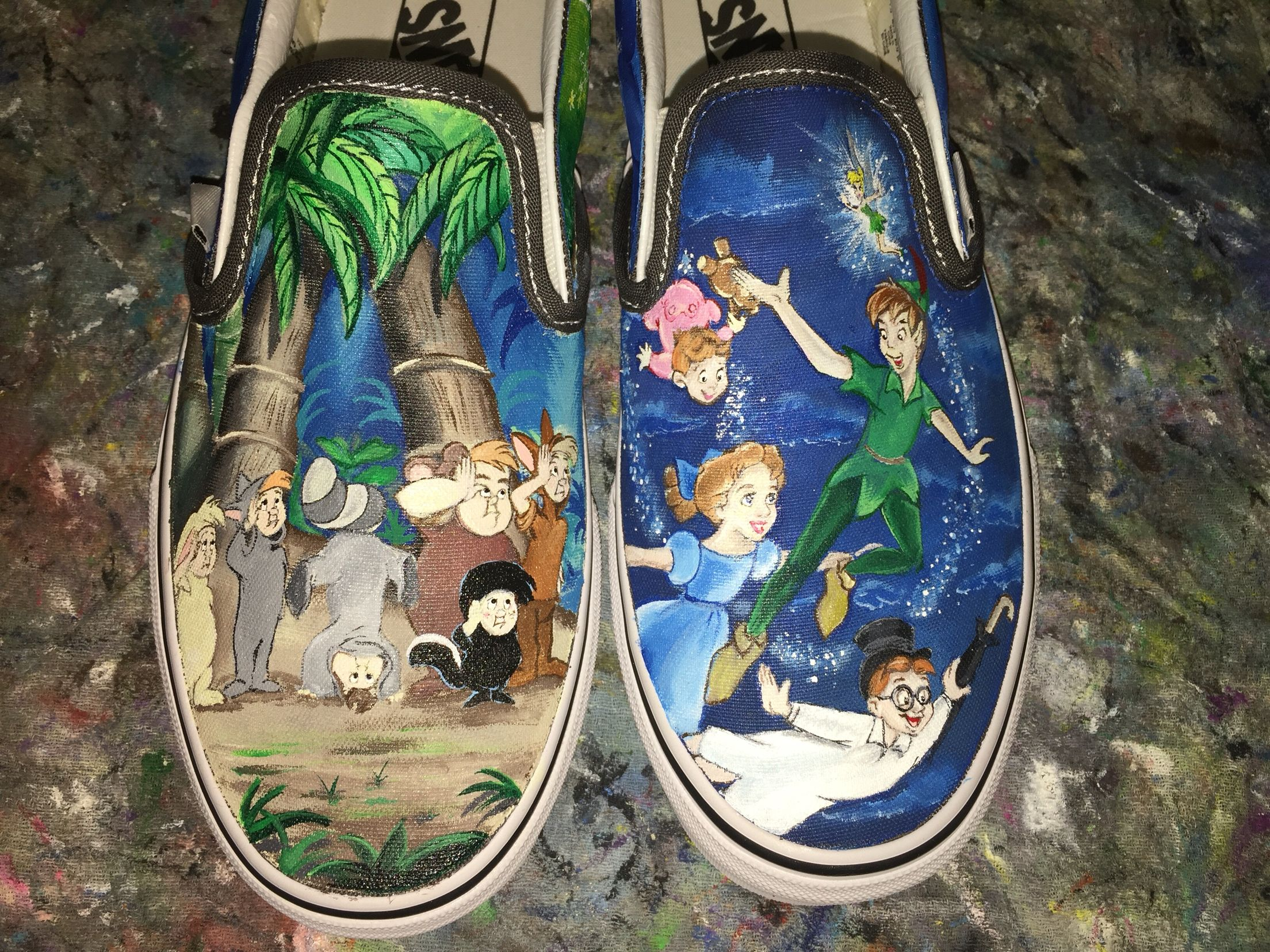 0d8040fa0ae6 Custom Painted Disney Peter Pan Vans Shoes