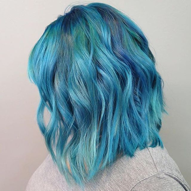Awesome Color Intensity Creation By Chantalxlaurenxhair Using A Mix Of New Mermaid Blue Shire Pea Green And Black Pearl