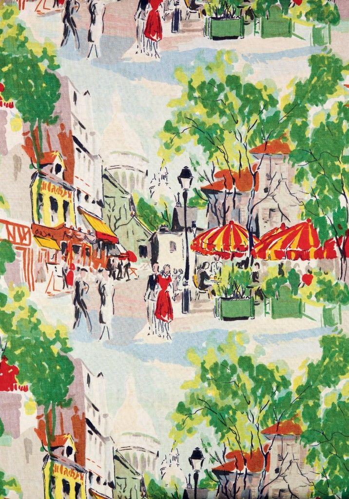 Montmartre Screen-printed linen, 1954