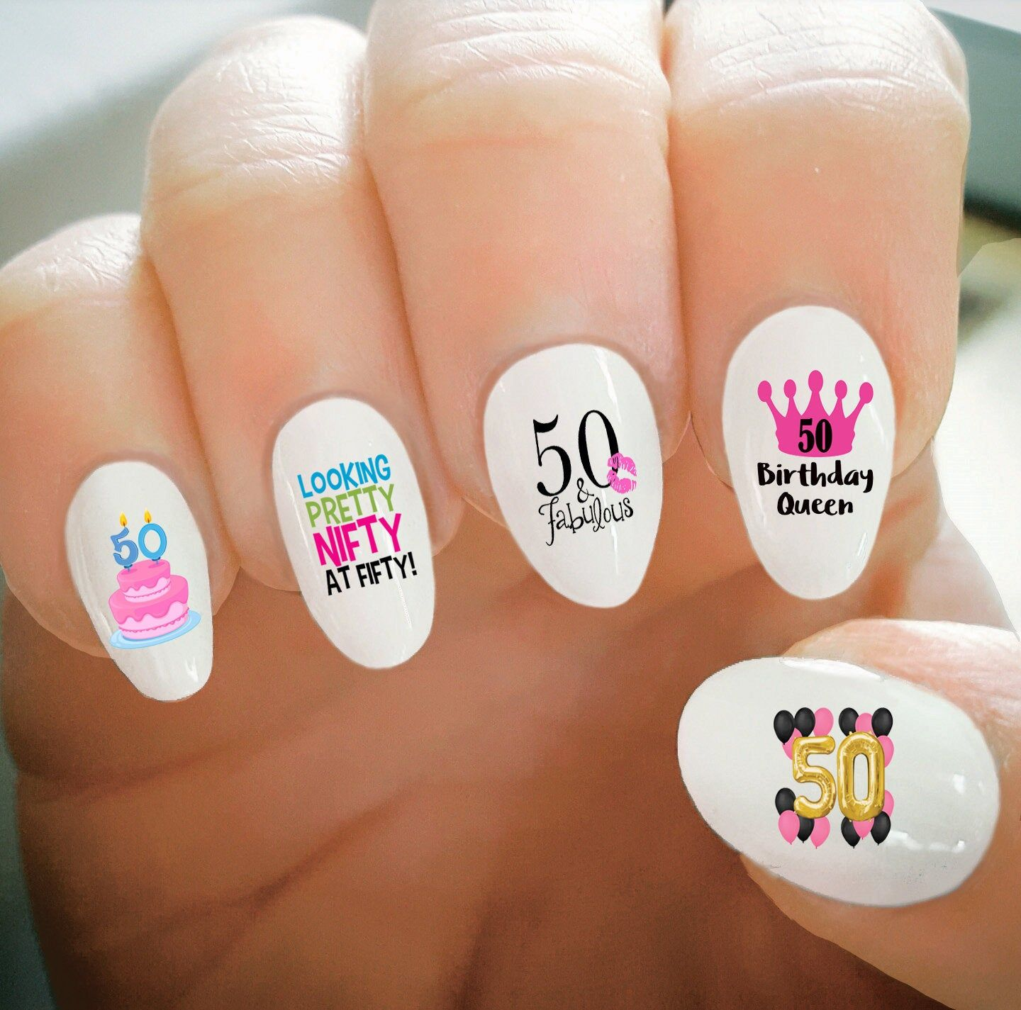 Nail Decals 50th Birthday Nail Decals Happy Birthday Fifty