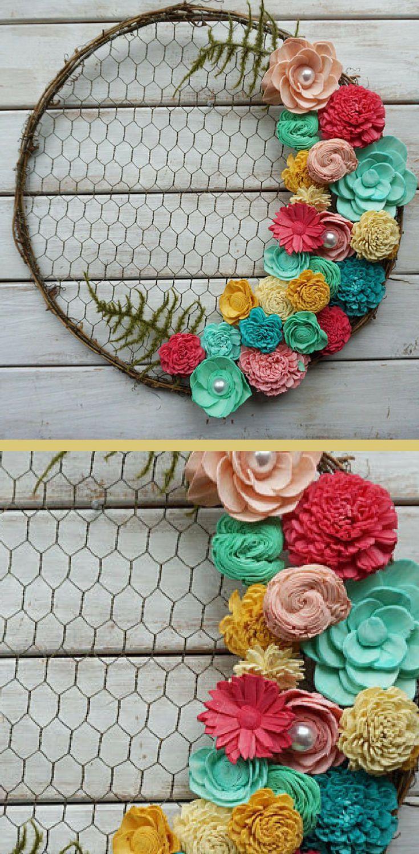 Love these colors sola wood flower farmhouse wreath