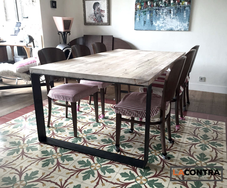 mesas de hierro de fundici n y madera reciclada centenaria