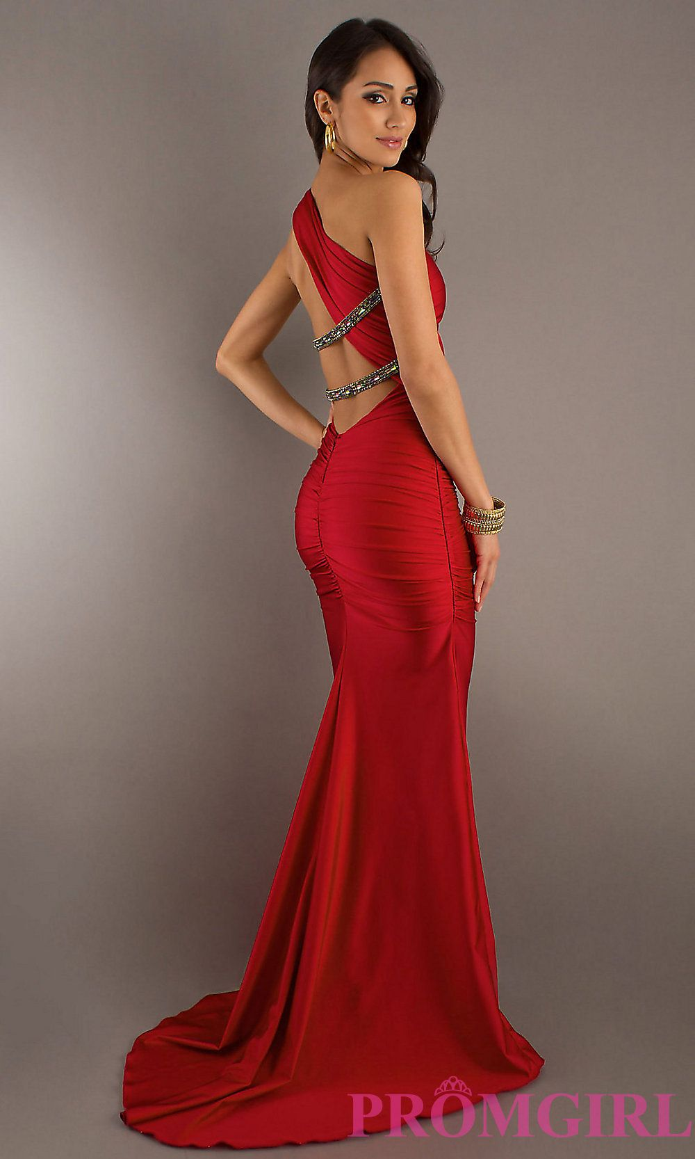 Sexy Long One Shoulder Dress, Evening Gowns- PromGirl