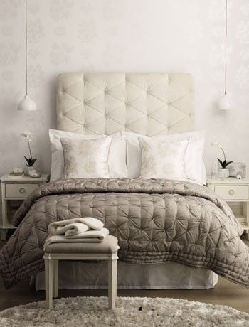 Gray bedroom quilted headboard hanging pendant lights for Quilted headboards