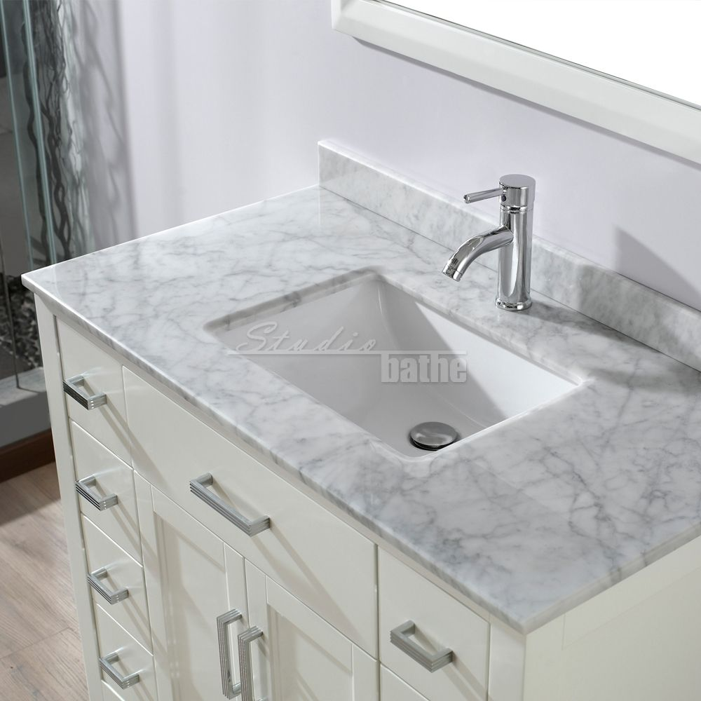 Kent 42 inch White Finish Bathroom Vanity | White vanity ...