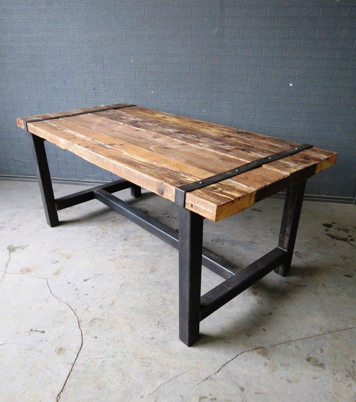 Industrial chic custom medieval reclaimed timber dining table steel frame bar jpegbay com