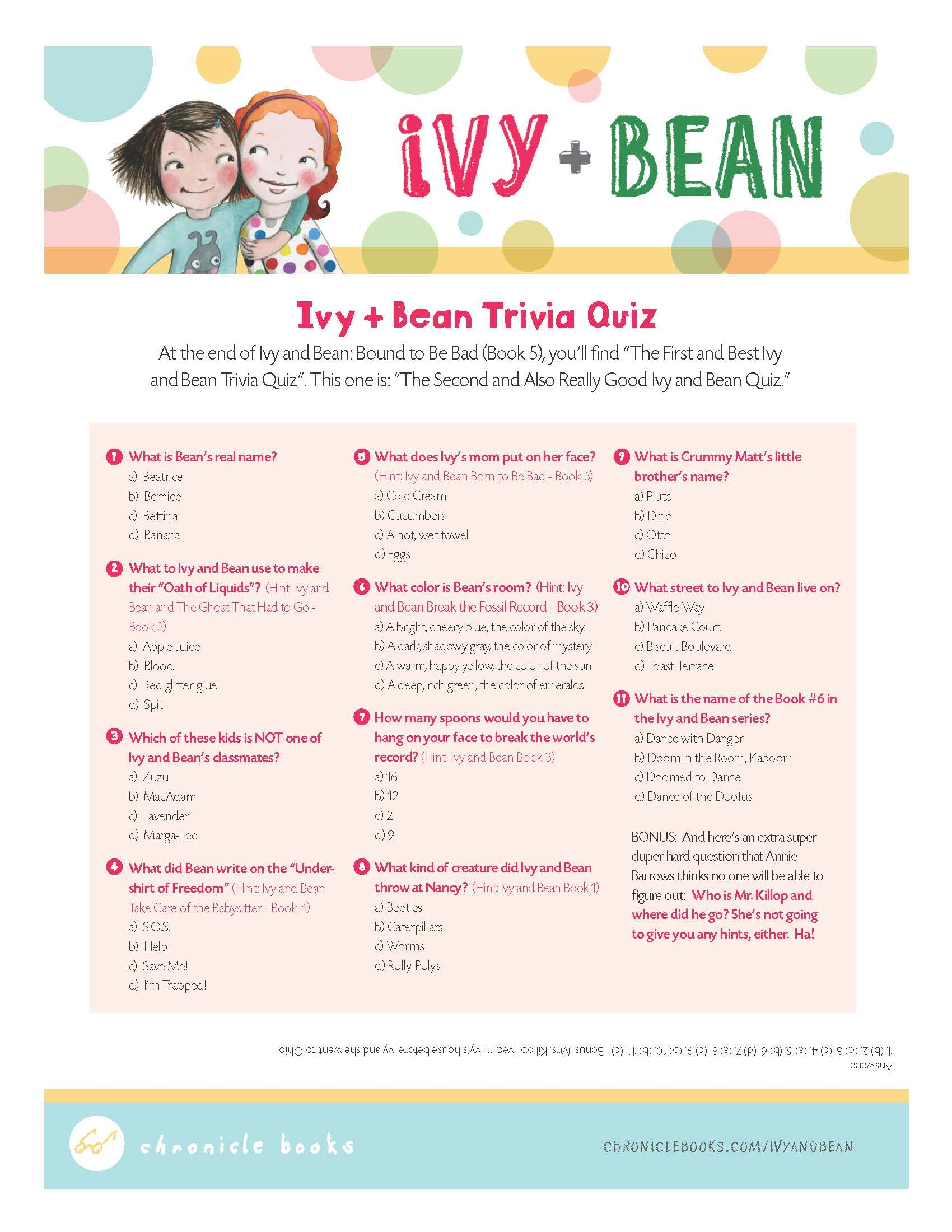 Ivy and Bean Trivia Quiz | For Ivy + Bean Fans | Pinterest | Trivia ...