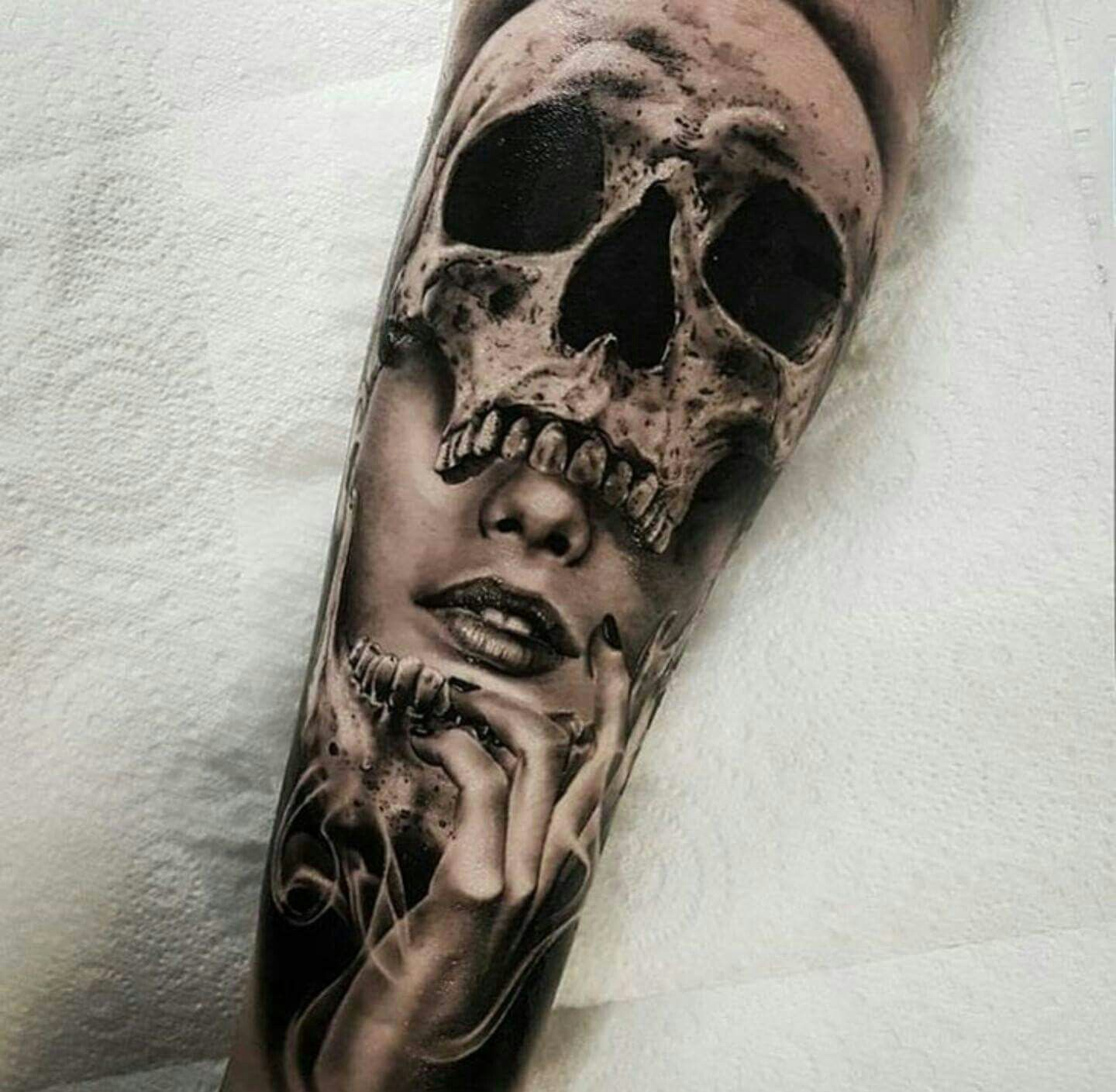 Realism Black And White Sleeve Tattoos For Women Skull Sleeve