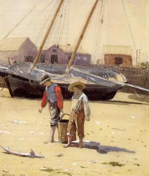 Winslow Homer - A Basket of Clams - 1873
