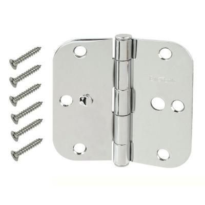 Everbilt 3 1 2 In Chrome 5 8 In Radius Security Door Hinges Value Pack 3 Pack 13634 The Home Depot Security Door Door Hinges Door Hardware