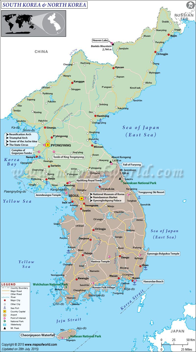 Map of South Korea and North Korea | Asia maps | Pinterest | North ...