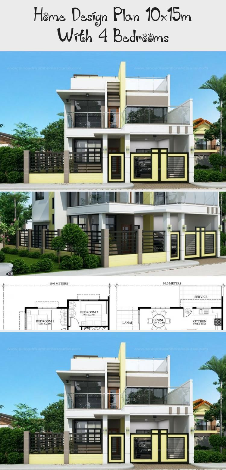 Home Design Plan 10x15m With 4 Bedrooms Home Ideas Floorplans4bedroomcolonial 10x15m Bedrooms In 2020 Home Design Plan Modern House Design Craftsman House Plans